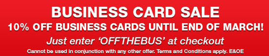 Save 10% off on business cards until 31st March 2015